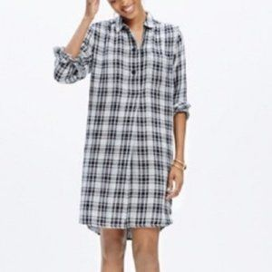 Madewell Black White Plaid Latitude Dress
